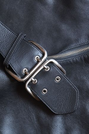 Closeup black leather background with belt and zipper Stock Photo - 7477031