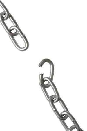 Closeup of metal breaking chain photo