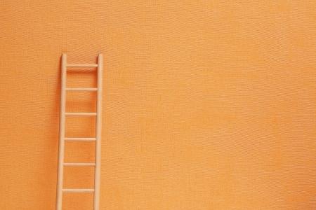 Konzeptioneller Hintergrund mit hölzernen Leiter gegen Ingwer Wand