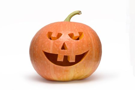 Pumpkin head isolated on white background  photo