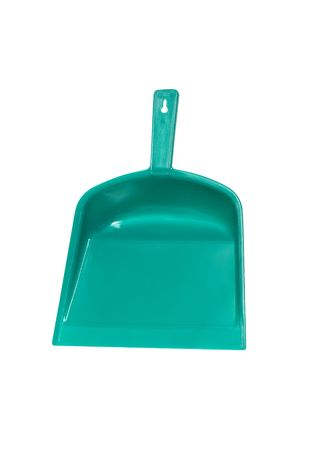 office cleanup: Green plastic dustpan isolated on white background