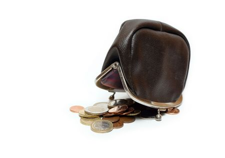 change purse: Black leather reverse change purse and coins isolated on white background  Stock Photo