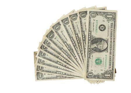 one dollar: Twelve USA one dollar bank notes isolated on white Stock Photo