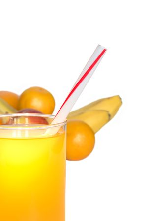 multy: Glass of juice closeup on white background with various fruits Stock Photo