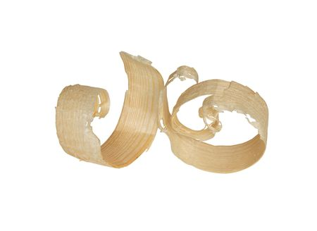 Two wood shavings isolated on white background with clipping path