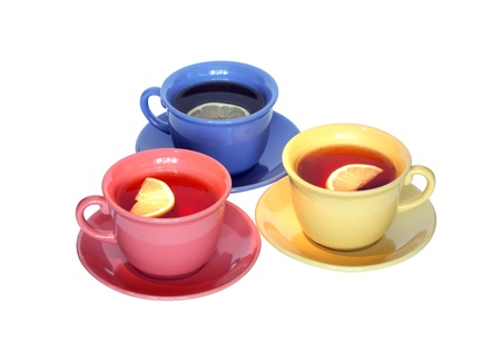 multy: Three color cups of black tea with lemon isolated on white background   Stock Photo