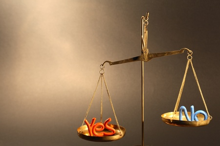 counterpoise: Plasticine words YES and NO balancing on old brass weight scale Stock Photo
