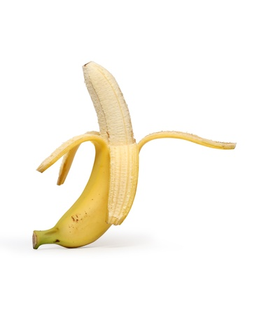 Banana geschält isolierten auf weißen Hintergrund mit Beschneidungspfad Standard-Bild