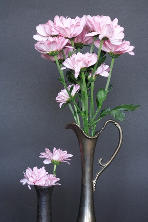 Two ancient vases with nice pink flowers on dark background photo