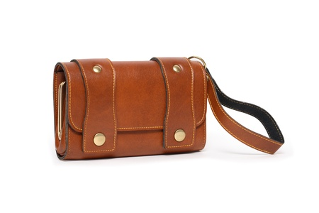 change purse: Modern brown leather change purse isolated on white