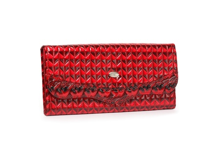 change purse: Nice red leather change purse on white background. Stock Photo