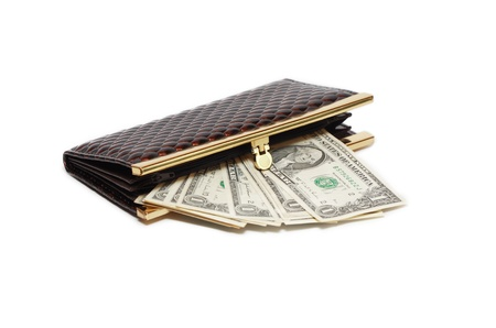 change purse: Few one dollar notes inside leather change purse on white background
