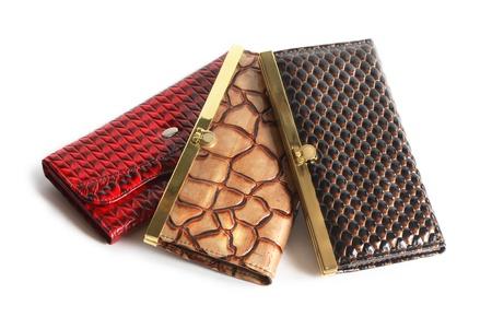 change purses: Three nice leather change purses on white background
