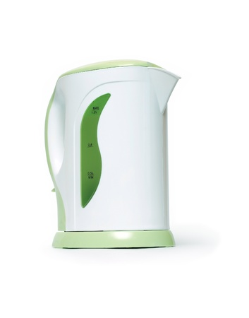 electric tea kettle: Modern electric kettle on white background. Isolated with clipping path