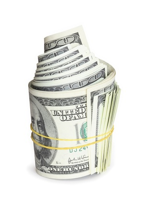 Roll of one hundred dollar notes tied with rubber band Stock Photo