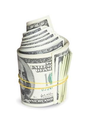 Roll von hundert Dollar-Noten mit Gummiband gebunden