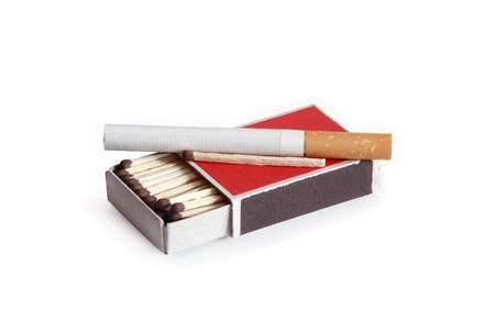 matchbox: Cigarette lying on open matchbox
