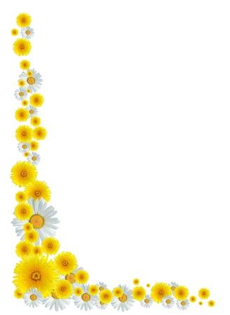 Schöne Grenze aus vielen gelben Löwenzahn und Ochsenauge Gänseblümchen Blumen gemacht Standard-Bild