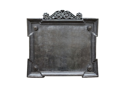 白い背景上に分離されて空白の古い金属のプラーク