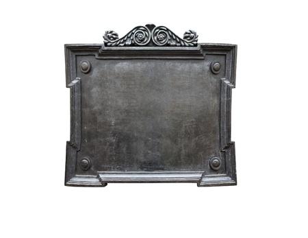 Blank alten Metallplakette isoliert auf weißem Hintergrund