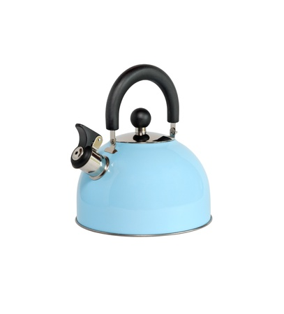 New blue kettle isolated on white background with clipping path photo