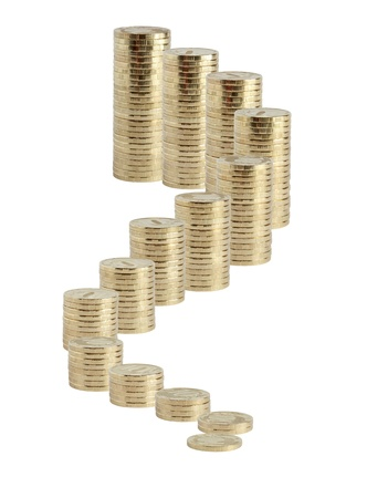 augmentation: Business concept. Many coins columns from small to big standing on white background as staircase