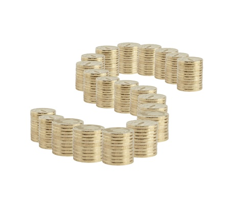 Dollar sign made from lot of coins columns on white background photo