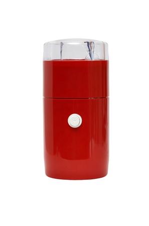 młynek do kawy: Czerwony młynek do kawy na białym tle