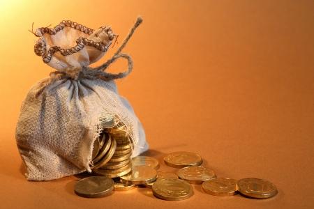 予算概念。こぼれたコインで穴だらけの黄麻布の袋 写真素材