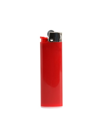 Red plastic cigarette lighter isolated on white background with clipping path photo