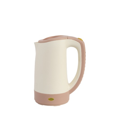 Modern beige electric kettle on white background. Isolated with clipping path photo