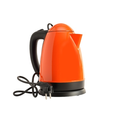 Modern new electric kettle on white background  photo