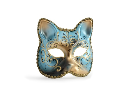 Classical venetian Cat Mask with. Isolated on white with clipping path photo