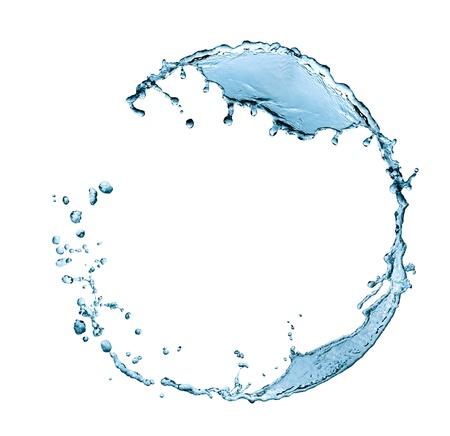 白い背景の上のリングと水しぶき水フレーム