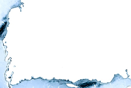 Border made from blue splashing water. Nice background Stock Photo
