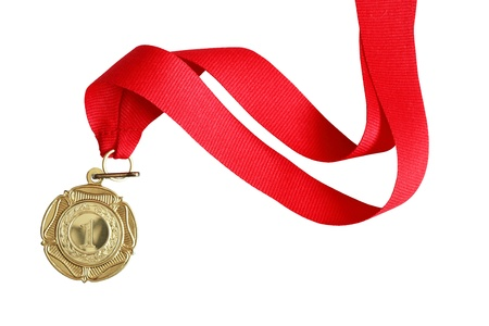 medal ribbon: Gold medal with red ribbon on white background Stock Photo