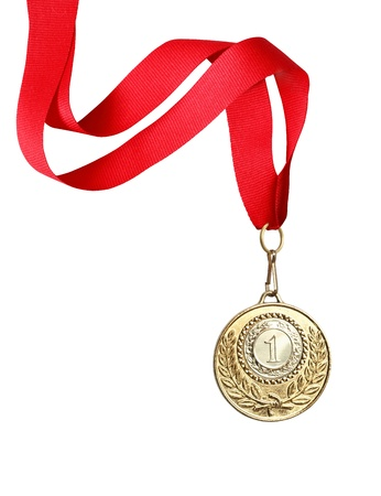 Gold medal with red ribbon on white background.