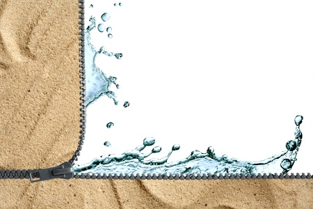 Ecology concept. Splashing water on background with sand and open zipper Stock Photo - 13355170