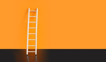 step ladder: Wooden ladder on black floor against orange wall. Nice background with free space for text