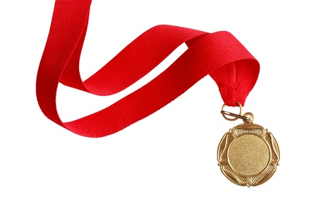 Gold medal with nice long red ribbon on white background.  Stock Photo