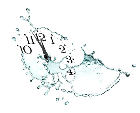 Time concept. Clock face and abstract flowing water on white background