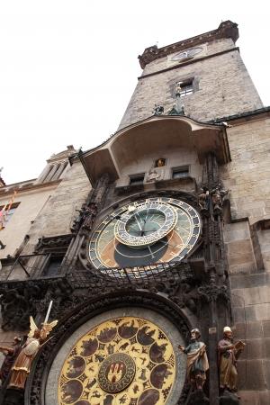 Famous Prague Town Hall tower with astronomical clock, Czech Republic photo