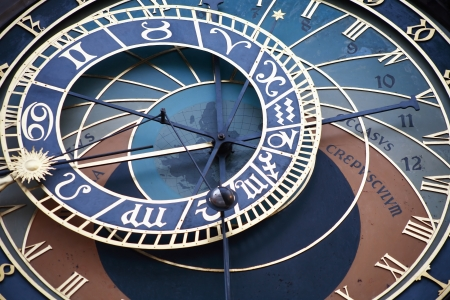 Closeup of famous astronomical clock on Prague Town Hall, Czech Republic photo
