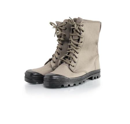 tarpaulin: Male outdoor tarpaulin shoes on white background. Stock Photo