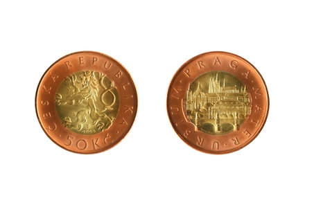 czech republic coin: Fifty crowns Czech republic coin isolated on white background Stock Photo