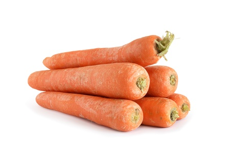 heathy diet: Stack of carrot on white background.  Stock Photo