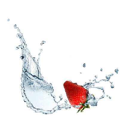 Red strawberry inside flowing water on white background