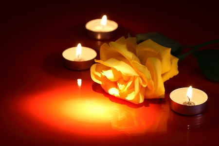 Closeup of beautiful yellow rose near lighting candles on red background photo