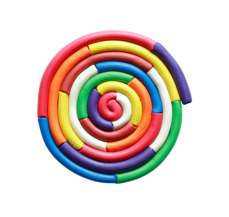 Circle made from color plastisine on white background.Isolated with clipping path