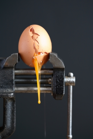 pressured: Pressure concept.Cracked egg pressured in a bench vice on dark background Stock Photo